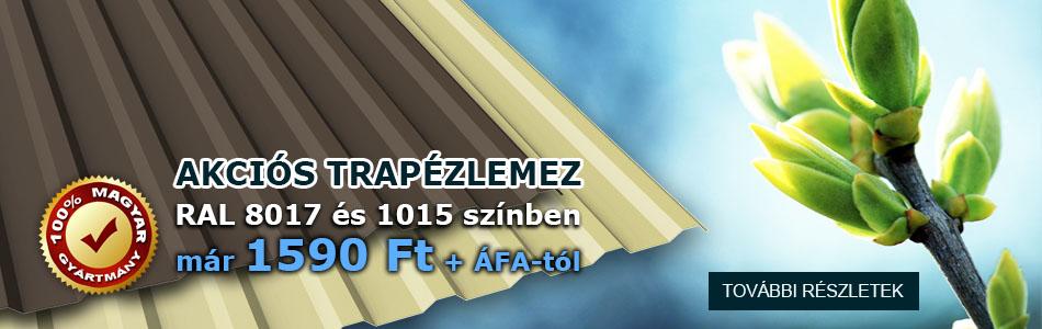Trapézlemez RAL 8017 és 1015 akció