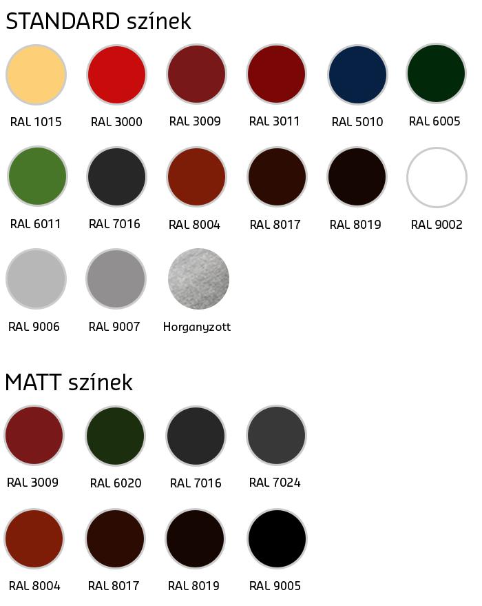 Ereszcsatorna színek